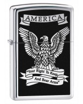 Zippo Pipe Lighter: America Eagle, Right to Bear Arms - High Polish Chrome 28290PL