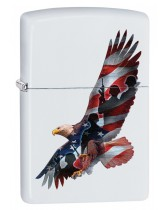 Zippo Lighter: Eagle with Soldiers and Flag - White Matte 29418