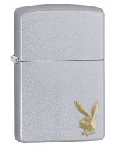 Zippo Lighter: Playboy Gold Emblem - Satin Chrome 29603