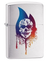 Zippo Lighter: Skull Flame - Brushed Chrome 29721