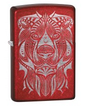 Zippo Lighter: Lion Tattoo, Engraved - Candy Apple Red 49109