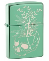 Zippo Lighter: Engraved Skull and Weed Leaves - High Polish Green 49142