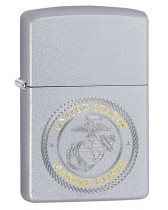 Zippo Lighter: United States Marine Corps Shield, Engraved - Satin Chrome 49150