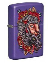 Zippo Lighter: Wolf And Roses - Purple Matte 49413