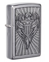 Zippo Lighter: Eagle Shield Emblem - Street Chrome 49450