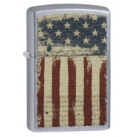 e842f63b7f7b Zippo Lighter  Aged American Flag - Street Chrome 77091