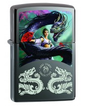 Zippo Lighter: Anne Stokes Lady and Dragon - Black Ice 78390