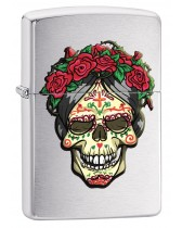Zippo Lighter: Day of the Dead Queen with Roses - Brushed Chrome 78600