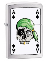 Zippo Lighter: Ace of Spades with Pirate Skull - Brushed Chrome 78744
