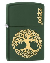 Zippo Lighter: Engraved Tree of Life - Green Matte 79509