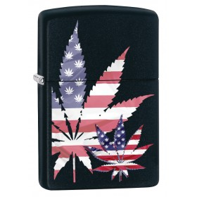 a4525b907f29 Zippo Lighter  American Flag Weed Leaf - Black Matte 79893