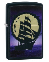Zippo Lighter: Pirate Ship with Full Moon - Black Matte 80796