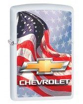 Zippo Lighter: Chevrolet Logo and American Flag - White Matte 80896