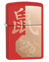 Zippo Lighter: Chinese Year of the Rat - Red Matte 29929
