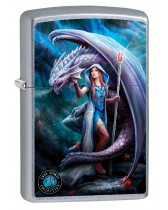 Zippo Lighter: Anne Stokes Lady and Dragon - Street Chrome 79998